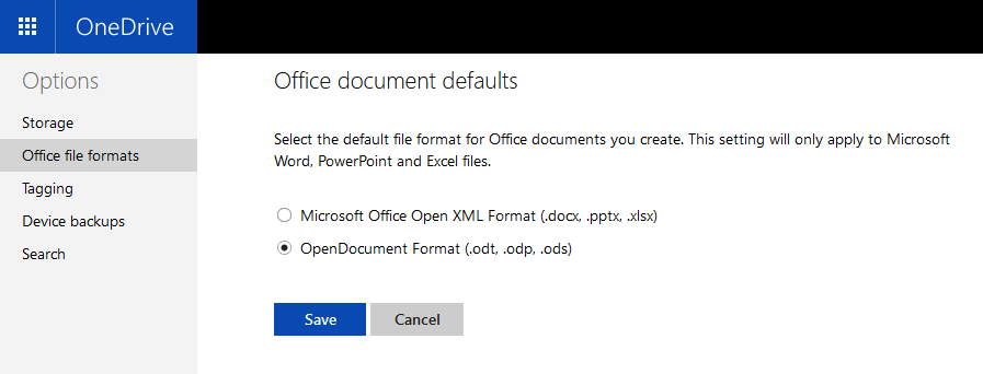 OneDrive online settings to change office document format to OpenDocument
