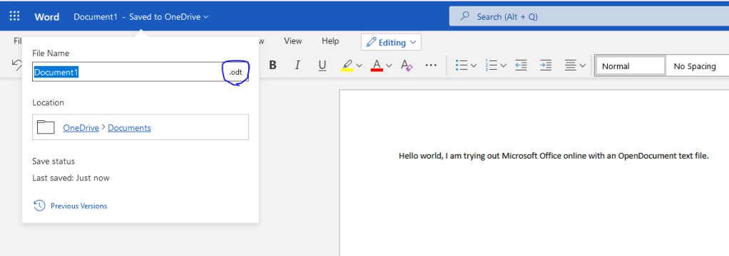 Microsoft Word online opening an ODT file